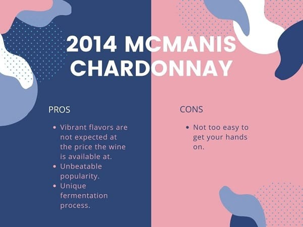 2014 McManis Chardonnay Pros and Cons